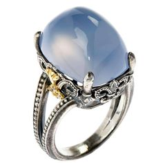 Stambolian Angel Blue Chalcedony Silver Gold Ring 1