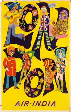 Poster Air India / London, 1968. Unknown artist. Swann Galleries