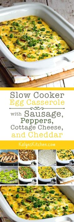 Use the Casserole Crock or any large oval slow cooker to make this delicious Slow Cooker Egg Casserole with Sausage, Peppers, Cottage Cheese, and Cheddar. This delicious slow cooker egg casserole cooks in a few hours and it's perfect for overnight guests or holiday mornings! And the recipe is low-carb, Keto, low-glycemic, gluten-free, and South Beach Diet friendly. [found on KalynsKitchen.com] #SlowCooker #CasseroleCrock #SlowCookerBreakfast #LowCarb #Keto #GlutenFree