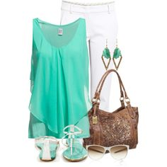 """Turquoise & White"" by lagu on Polyvore"