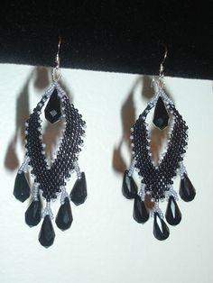 Black Leaf Tears Earrings, handmade jewelry by Mariel.