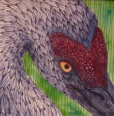 "Sandhill Crane, 8 x 8"", quilt by Mari Livie, thread painting"