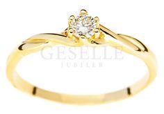 Skręcony, złoty pierścionek zaręczynowy z brylantem 0,11 karata - GRAWER W PREZENCIE | PIERŚCIONKI ZARĘCZYNOWE  Brylant  Żółte złoto od GESELLE Jubiler