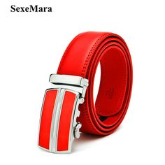 NEW Men's Genuine Leather Belt Strap Designer RED Belts Automatic Personality  Mens Belts  pants accessories