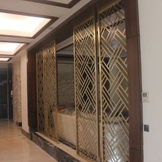 Panel pattern and material to slightly separate the dining and living areas House Design, Door Design, Room Design, Window Grill Design, Jaali Design, Metal Grill, Ceiling Design, Grill Door Design, Home Interior Design