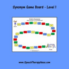 Knowing a variety of synonyms can be important for your students who are working on increasing their vocabularies. This print-and-play game board is a fun way Speech Therapy Games, Therapy Activities, Therapy Ideas, Speech Language Pathology, Speech And Language, Picture Cards, Activity Games, School Stuff, Vocabulary