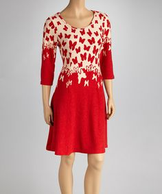 Red & White Butterfly Dress by Reborn Collection #zulily #zulilyfinds