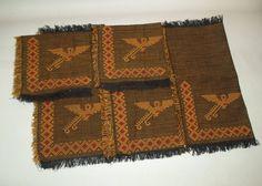 Vintage Western hand stiched Phoenix & Edged  5 Cloth Napkins