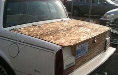 Ply wood trunk I WalMart Auto Show Auto Fails, Automobile, Wooden Trunks, Car Fix, Only At Walmart, Car Hacks, Auto Service, Morning Humor, Diy Car