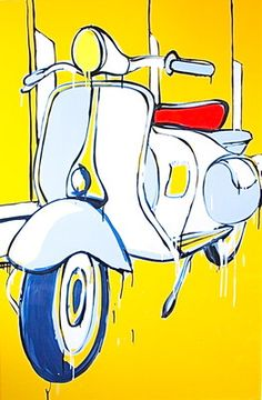 """JASPER KNIGHT """"1958 Vespa"""" Original Acrylic on Perspex, 2010. Image Size: 150cm x 100cm Frame Size: 154cm x 104cm (Housed in White Gallery Frame - Beautiful) Work In Australia, Old Signs, High Art, Workout Machines, Arte Pop, Frame Sizes, Artist At Work, Jasper, Knight"""