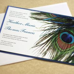 Peacock Wedding Invitation — Add a touch of elegance to your wedding or event. Featuring a detail photo of a beautiful peacock feather. Peacock Wedding Invitations, Modern Wedding Invitations, Wedding Themes, Wedding Cards, Diy Wedding, Dream Wedding, Wedding Day, Wedding Photos, Wedding Stuff