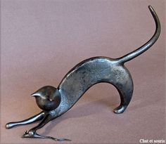 """Cat and mouse"" - Metal sculpture by French artist Jean-Pierre Augier"
