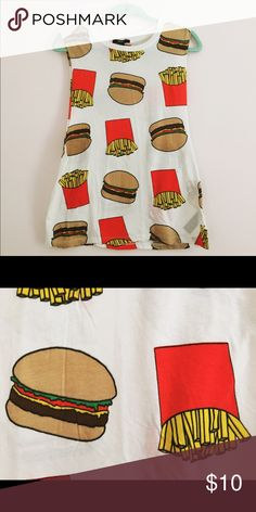 Burgers and Fries Muscle Tee White muscle shirt with hamburgers and fries design. Material is cotton. Forever 21 Tops Muscle Tees