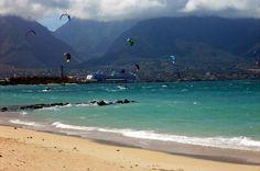 Kite Surfing, Kanahâ Beach Park, Maui, Hawaii