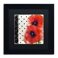"""Trademark Global 'Scarlet Poppies I' by Color Bakery Framed Painting Print Size: 11"""" H x 11"""" W x 0.5"""" D, Matte Color: Black"""