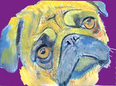 Pug Dog Painting, Print of Original Art 21 x 29.7cm Cool Pug colourful Pug dog art-holiday gift idea by OjsDogPaintings:… #dogs #etsy #art