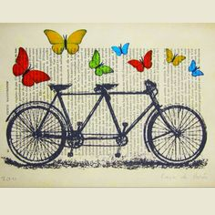 Digital Print Mixed Media Illustration Print Art Poster Acrylic Painting Drawing Illustration: Butterflies around black vintage bicycle