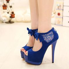 [grzxy61900402]Bowknot Crochet Lace Peep Toe High Stiletto Heel Sandal