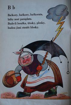 Milos Holas, Illustrated by Alena Ladova. Vintage Images, Retro Vintage, Brollies, Alphabet Book, Childrens Books, Design Inspiration, Education, Logos, Ms