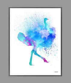 Blue Ostrich Watercolor Print Blue Bird Watercolor by MimiPrints