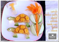 edible fun: turtle « mama miss Cute Snacks, Cute Food, Good Food, Food Art For Kids, Cooking With Kids, Toddler Meals, Kids Meals, Deco Fruit, Veggie Art