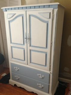 Repurposed armoire for baby's room. Baby Room Furniture, Wardrobe Furniture, Kids Furniture, Furniture Decor, Ikea Wardrobe, Painted Furniture, Armoire Makeover, Furniture Makeover, Baby Armoire