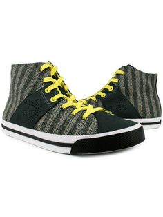 High Top Edge Mens Leather Sneakers - Grey
