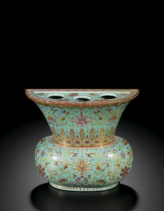 A FAMILLE-ROSE TURQUOISE-GROUND WALL VASE QING DYNASTY, QIANLONG PERIOD | Lot | Sotheby's