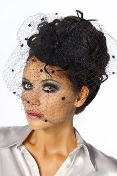bibi noir fascinator burlesque avec voilette plumetis noir amazonfr vtements et accessoires - Bibi Mariage Voilette
