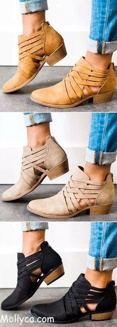 fbf1597e67d5 Buy 2 Got 5% OFF Code  mollyca Criss-Cross Ankle Heel Booties Hollow