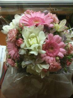 Centerpiece - PInk Miniature Gerbera Daisies, White Dahlias, Pink Spray Roses,