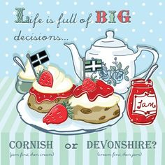 'Cream Tea' Art Card - Cornish or Devon?