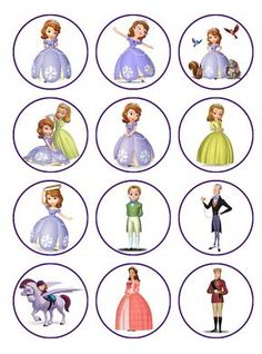 Sofia the first birthday party ideas EDIBLE Sofia cupcake toppers, yes these are Edible Images and only $5 a dozen?!?!