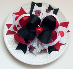 Large Hair Bow for Girls  Ladybug Hair Bow by SheWearsitWell, $14.00
