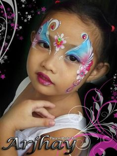 Pretty face paint design for girls