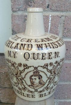 MY QUEEN JUBILEE 1837-1887 BLEND HIGHLAND WHISKY WHISKEY STONEWARE FLAGON JUG
