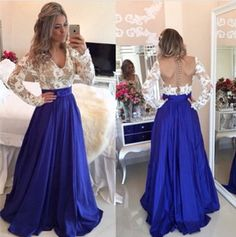 Pd451 Fashin Prom Dress,Long Sleeve Prom Dress,Lace prom Dress,v-Neck Prom Dress,A-Line Prom Dress