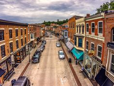 Main st. Galena, IL hoovering with the quad copter aka drone.  HDR photography by Garth Fuerste.  Please check out www.garthfuerstephotography.com or click on the picture to purchase a print.