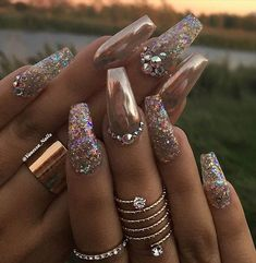 Rose Gold And Crystals | Most Popular Coffin Nail Designs To Try Yourself | Coffin Nails