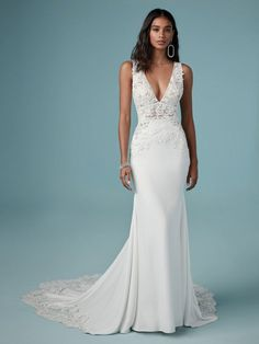 Crepe Wedding Dress, Maggie Sottero Wedding Dresses, V Neck Wedding Dress, Dream Wedding Dresses, Boho Wedding Dress, Wedding Gowns, Wedding Dress Sheath, Wedding Dresses Fit And Flare, Fitted Wedding Dresses