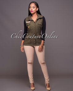 Chic Couture Online - Elliott Olive Green Patch Work Hoodie Vest, $40.00 (http://www.chiccoutureonline.com/elliott-olive-green-patch-work-hoodie-vest/)