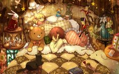Sleeping child surrounded by toys wallpaper
