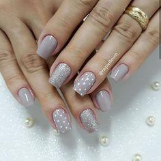 beige, bright, and dots image - Nails - Love Nails, Pink Nails, Gel Nails, Polka Dot Nails, White Nails, Cute Acrylic Nails, Acrylic Nail Designs, Stylish Nails, Trendy Nails