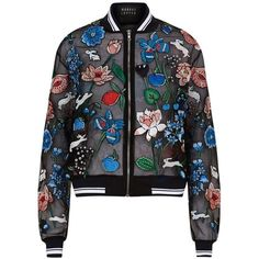 Markus Lupfer Garden Bunny Organza Bomber Jacket (11.605 ARS) ❤ liked on Polyvore featuring outerwear, jackets, flower print bomber jacket, embellished jacket, striped jacket, embroidered bomber jacket and organza bomber jacket