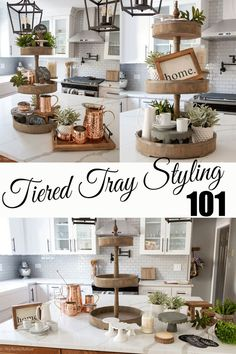 Tiered Tray Styling 101 Need help styling your tiered tray or farmhouse trays? We show you some fun tips & tricks become a tray-styling pro! Best part is we use stuff you probably already have around your house! We incorporate basic home decor items with Easy Home Decor, Home Decor Items, Home Decor Accessories, Kitchen Accessories, Kitchen Decor Items, Home Decor Styles, Plateau Style, Decoracion Habitacion Ideas, Apartment Inspiration