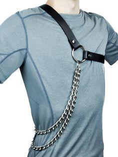 Heavy Metal Chain Black Leather Fashion Harness Gladiator
