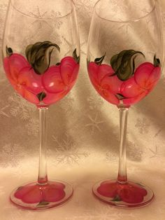 Hand Painted Wine Glasses  Island Blossoms Mango Set by EverMyHart - $25