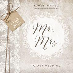 #trouwkaart #trouwuitnodiging #trouwen #bruiloft #wedding #bruid #huwelijk #bruidspaar #vintage #label #kraft #kant #lace