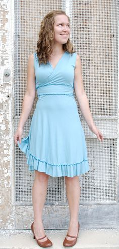 Short Ruffled Wrap Dress Made to Order Many Colors to by yanadee, $120.00