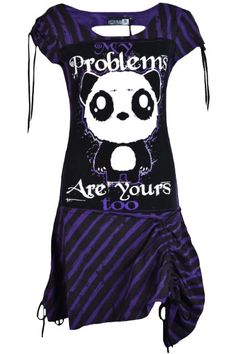 Poizen Industries - Killer Panda - Problem Dress - Black/Purple